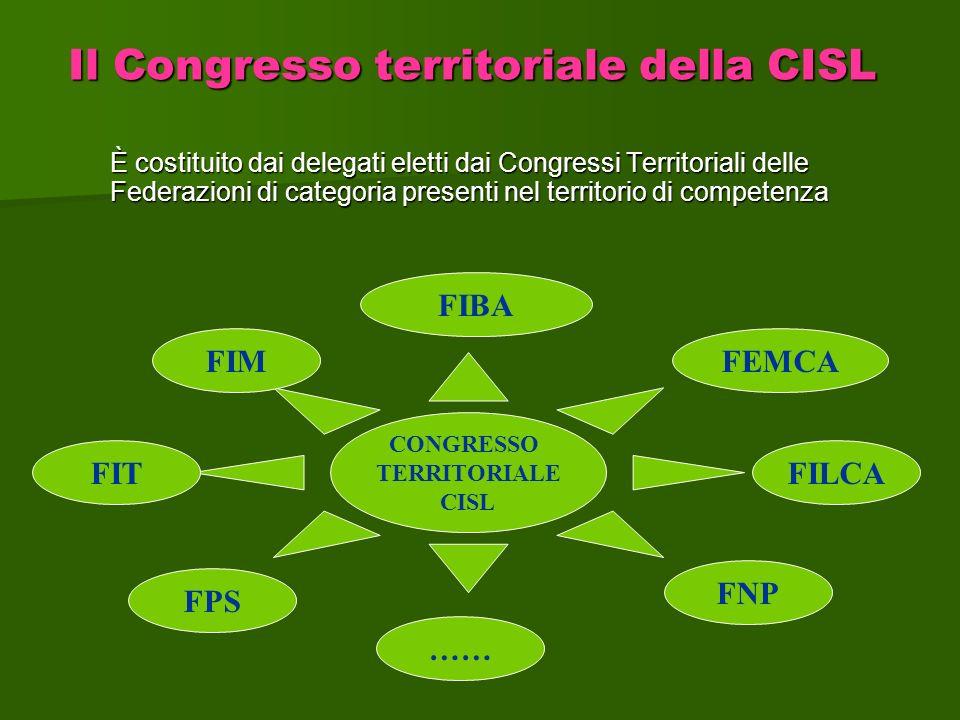 È costituito dai delegati eletti dai Congressi Territoriali delle Federazioni di categoria presenti nel territorio di competenza Il Congresso territor