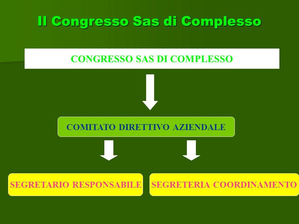 Il Congresso Sas di Complesso CONGRESSO SAS DI COMPLESSO COMITATO DIRETTIVO AZIENDALE SEGRETERIA COORDINAMENTOSEGRETARIO RESPONSABILE