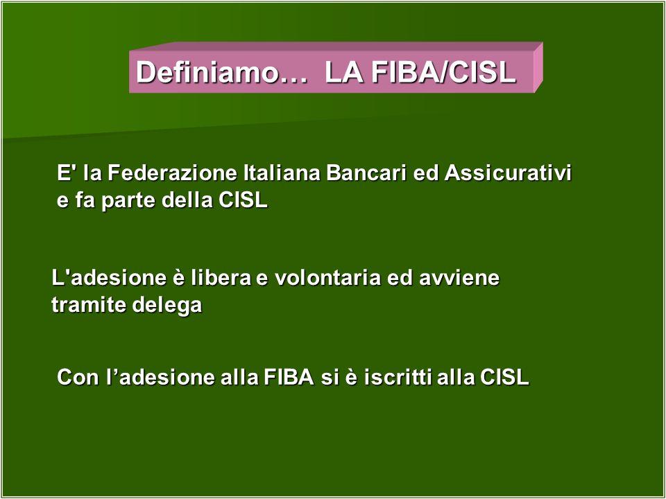Definiamo… LA FIBA/CISL E' la Federazione Italiana Bancari ed Assicurativi e fa parte della CISL L'adesione è libera e volontaria ed avviene tramite d