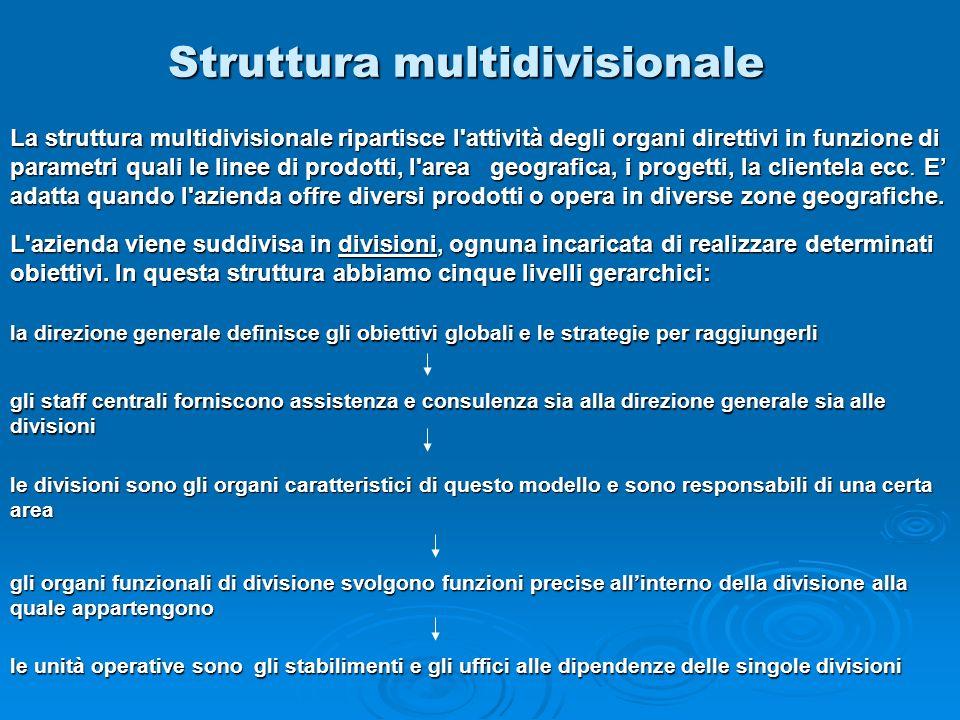Struttura multidivisionale la direzione generale definisce gli obiettivi globali e le strategie per raggiungerli gli staff centrali forniscono assiste