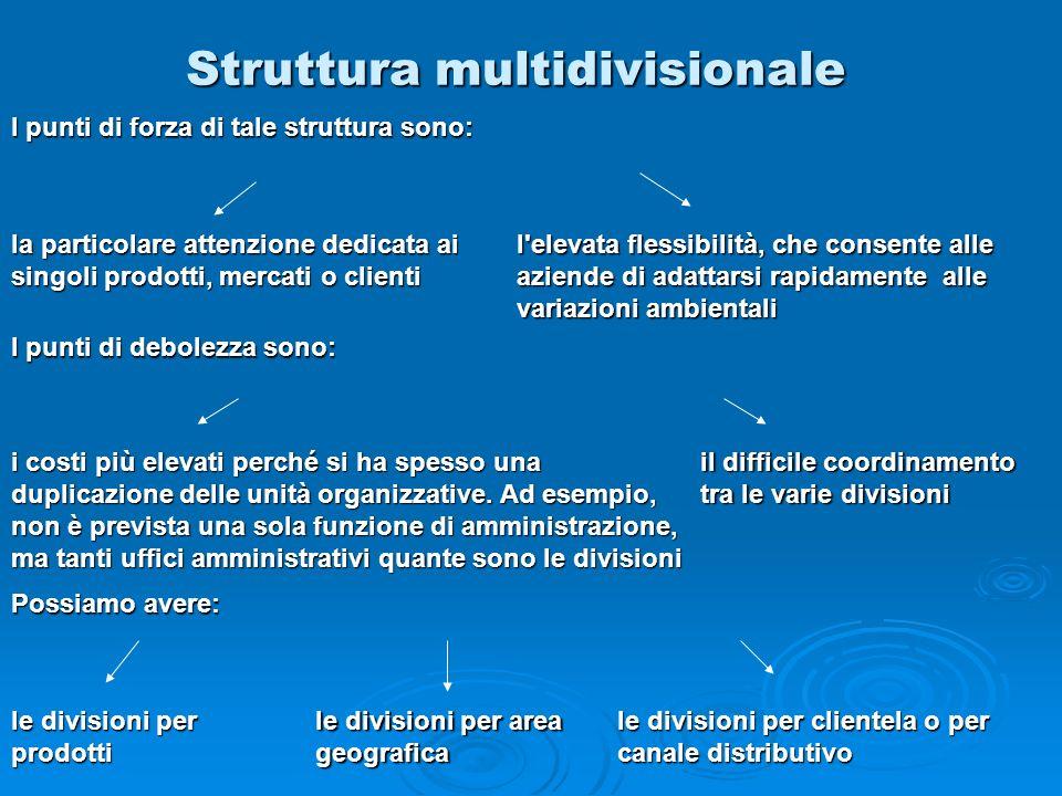 Struttura multidivisionale la particolare attenzione dedicata ai singoli prodotti, mercati o clienti l'elevata flessibilità, che consente alle aziende