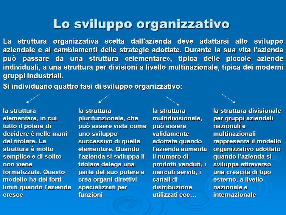 Lo sviluppo organizzativo la struttura elementare, in cui tutto il potere di decidere è nelle mani del titolare. La struttura è molto semplice e di so