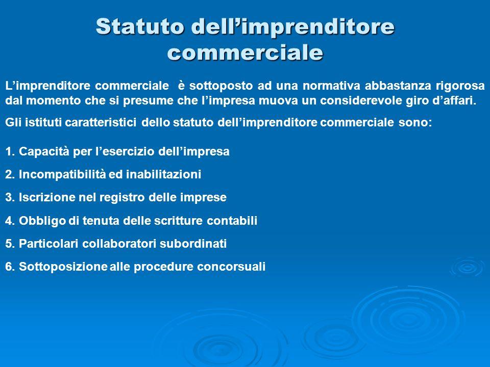 Statuto dellimprenditore commerciale Limprenditore commerciale è sottoposto ad una normativa abbastanza rigorosa dal momento che si presume che limpre