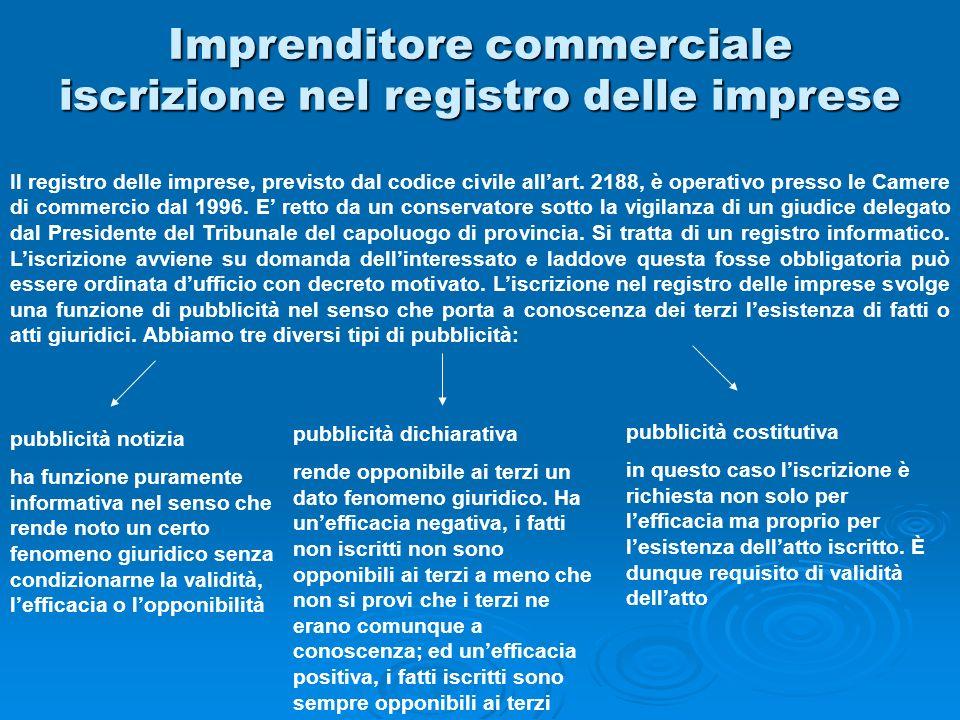 Imprenditore commerciale iscrizione nel registro delle imprese Il registro delle imprese, previsto dal codice civile allart. 2188, è operativo presso