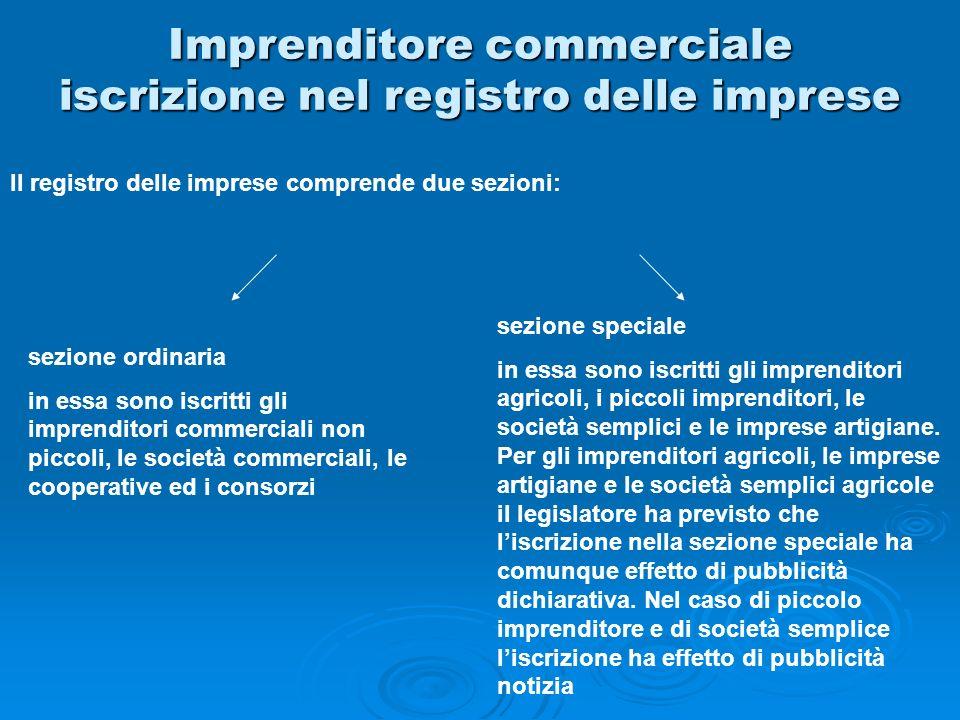 Imprenditore commerciale iscrizione nel registro delle imprese Il registro delle imprese comprende due sezioni: sezione ordinaria in essa sono iscritt