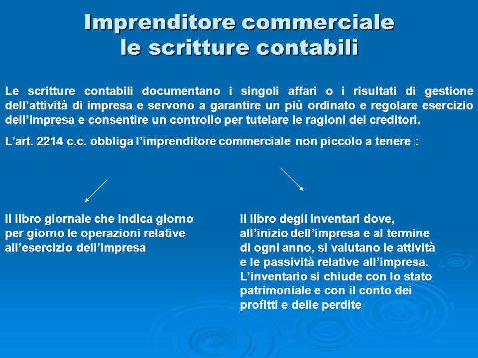 Imprenditore commerciale le scritture contabili Le scritture contabili documentano i singoli affari o i risultati di gestione dellattività di impresa