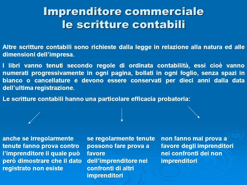 Imprenditore commerciale le scritture contabili Altre scritture contabili sono richieste dalla legge in relazione alla natura ed alle dimensioni delli