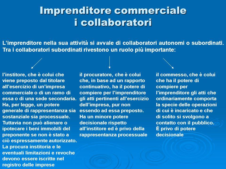 Imprenditore commerciale i collaboratori Limprenditore nella sua attività si avvale di collaboratori autonomi o subordinati. Tra i collaboratori subor