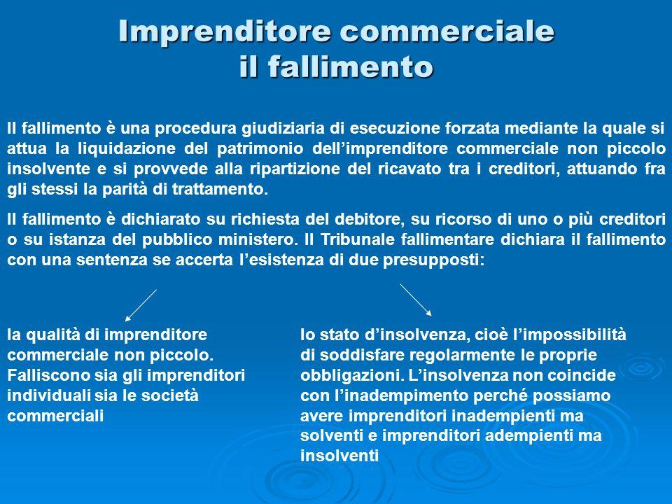 Imprenditore commerciale il fallimento Il fallimento è una procedura giudiziaria di esecuzione forzata mediante la quale si attua la liquidazione del