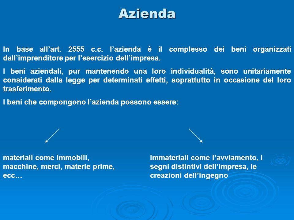 Azienda In base allart. 2555 c.c. lazienda è il complesso dei beni organizzati dallimprenditore per lesercizio dellimpresa. I beni aziendali, pur mant