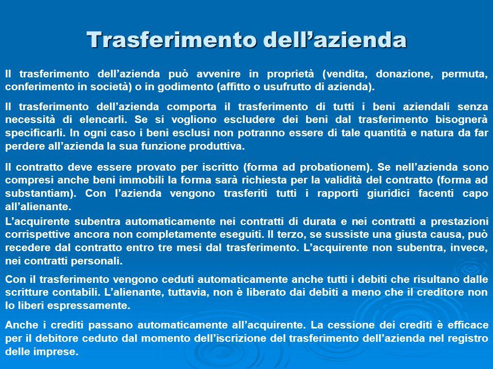 Trasferimento dellazienda Il trasferimento dellazienda può avvenire in proprietà (vendita, donazione, permuta, conferimento in società) o in godimento