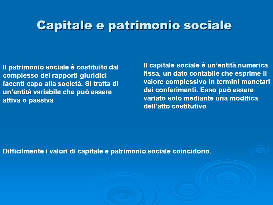 Capitale e patrimonio sociale Il patrimonio sociale è costituito dal complesso dei rapporti giuridici facenti capo alla società. Si tratta di unentità