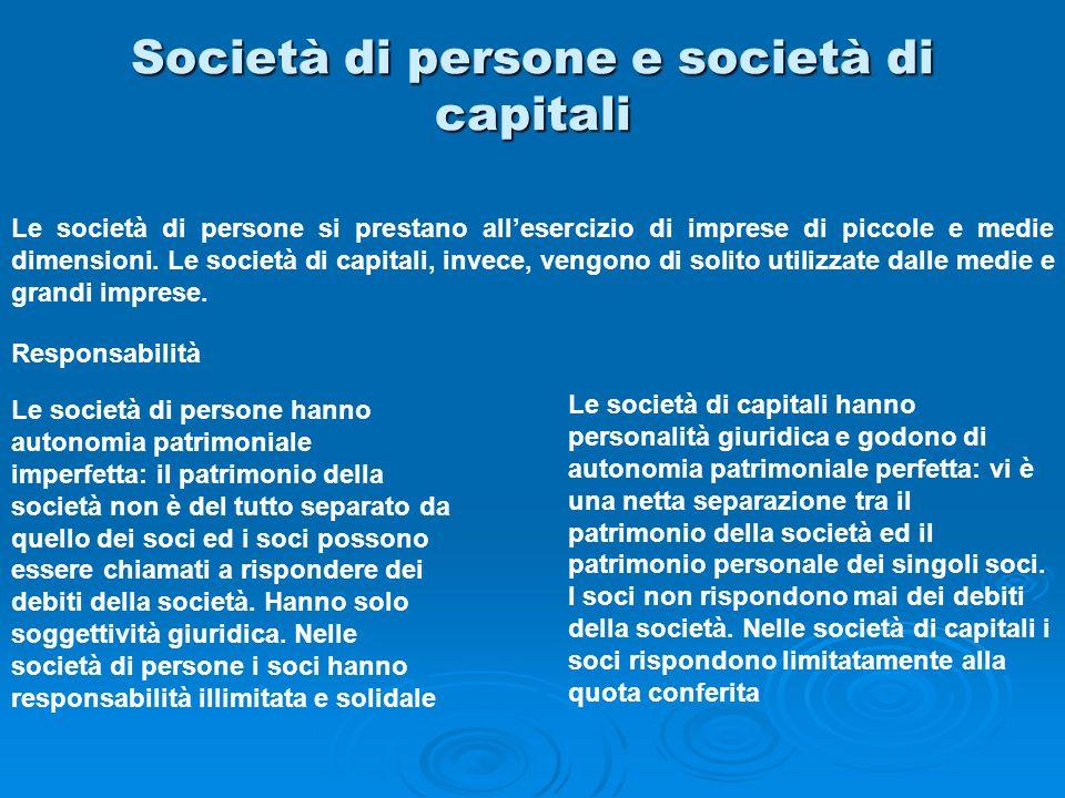 Società di persone e società di capitali Le società di persone si prestano allesercizio di imprese di piccole e medie dimensioni. Le società di capita