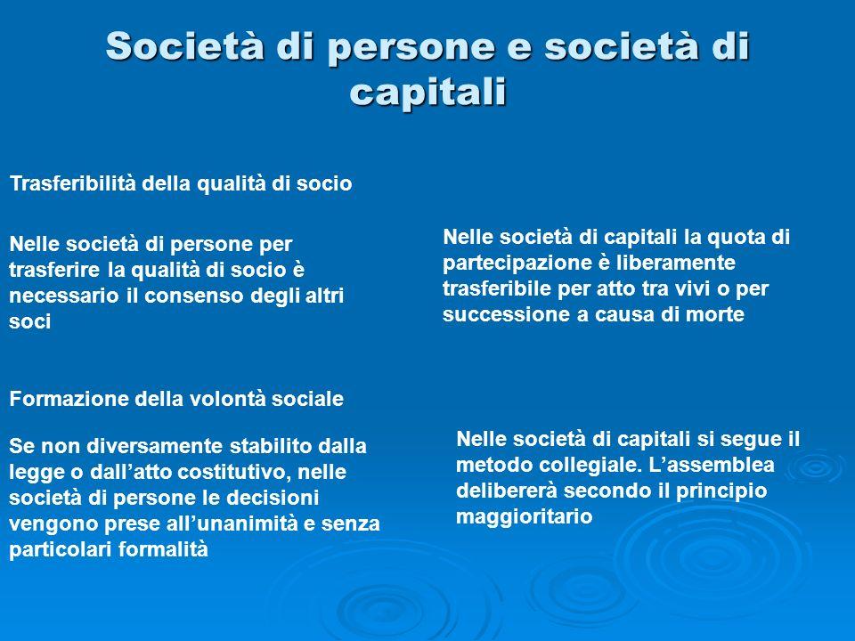 Società di persone e società di capitali Trasferibilità della qualità di socio Formazione della volontà sociale Nelle società di persone per trasferir
