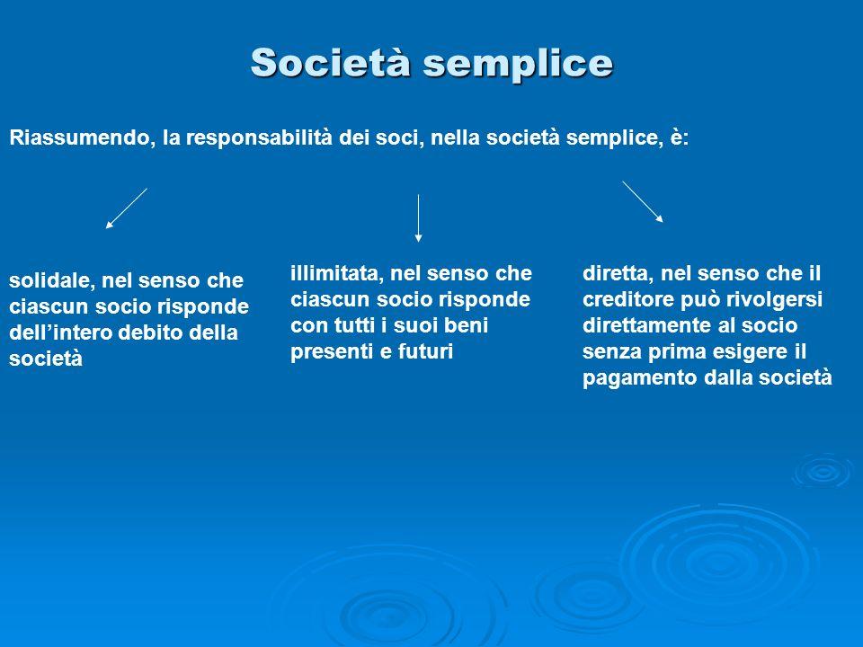 Società semplice Riassumendo, la responsabilità dei soci, nella società semplice, è: solidale, nel senso che ciascun socio risponde dellintero debito