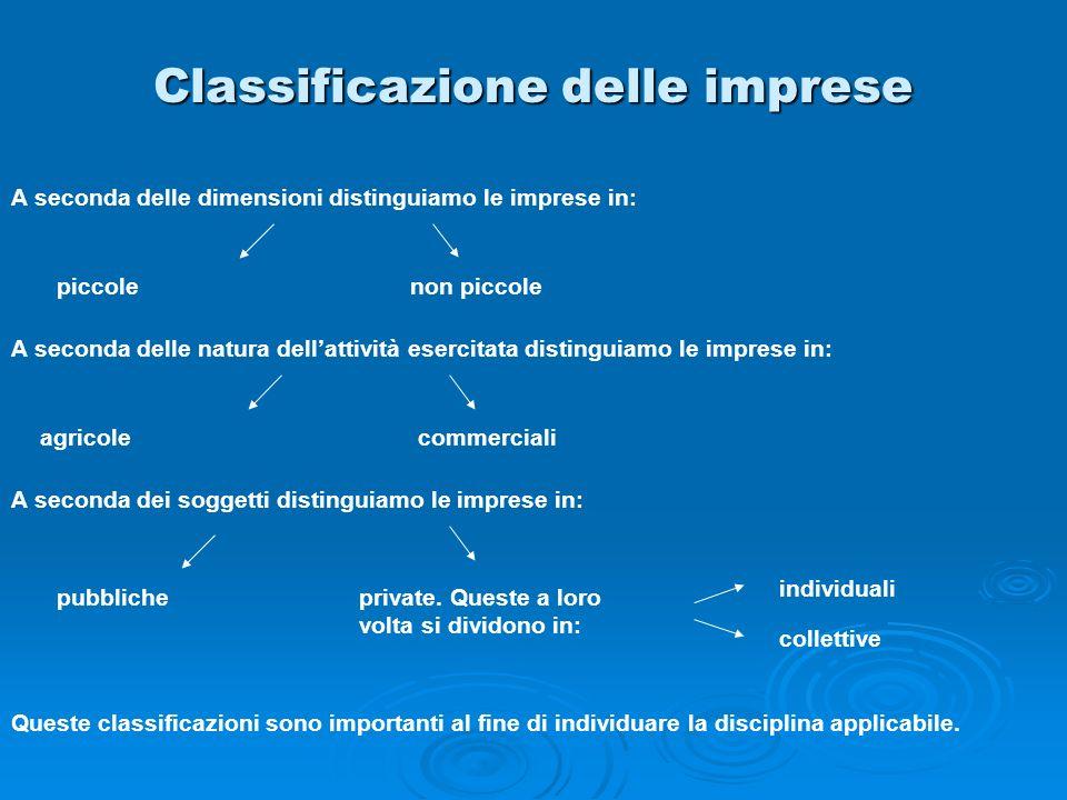 Classificazione delle imprese A seconda delle dimensioni distinguiamo le imprese in: piccolenon piccole A seconda delle natura dellattività esercitata