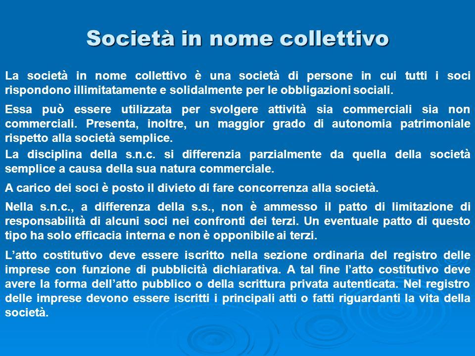 Società in nome collettivo La società in nome collettivo è una società di persone in cui tutti i soci rispondono illimitatamente e solidalmente per le