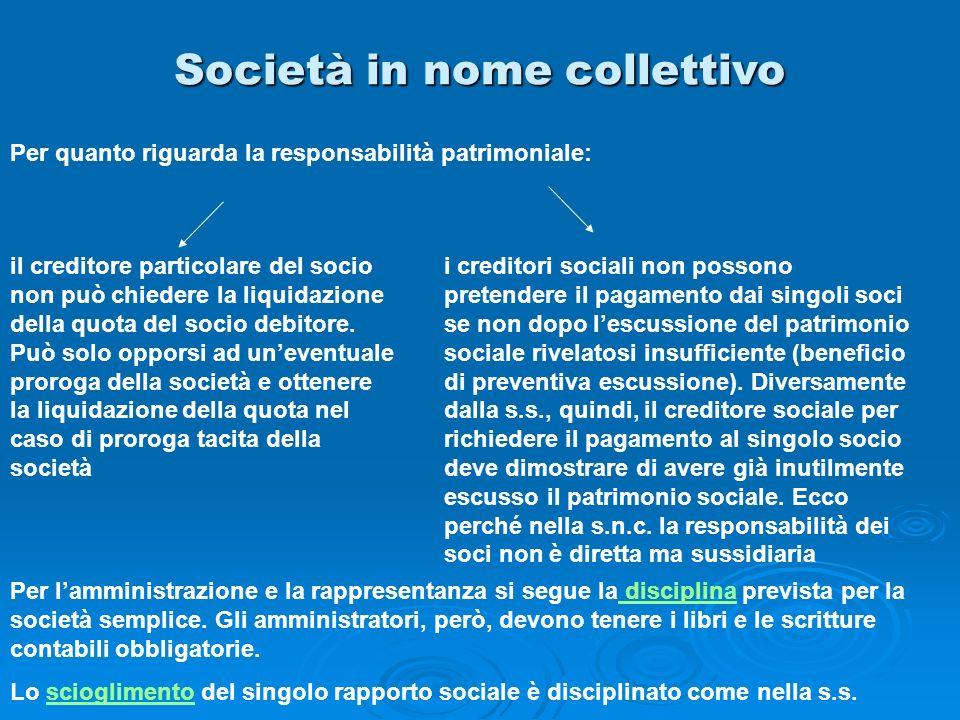 Società in nome collettivo Per quanto riguarda la responsabilità patrimoniale: il creditore particolare del socio non può chiedere la liquidazione del