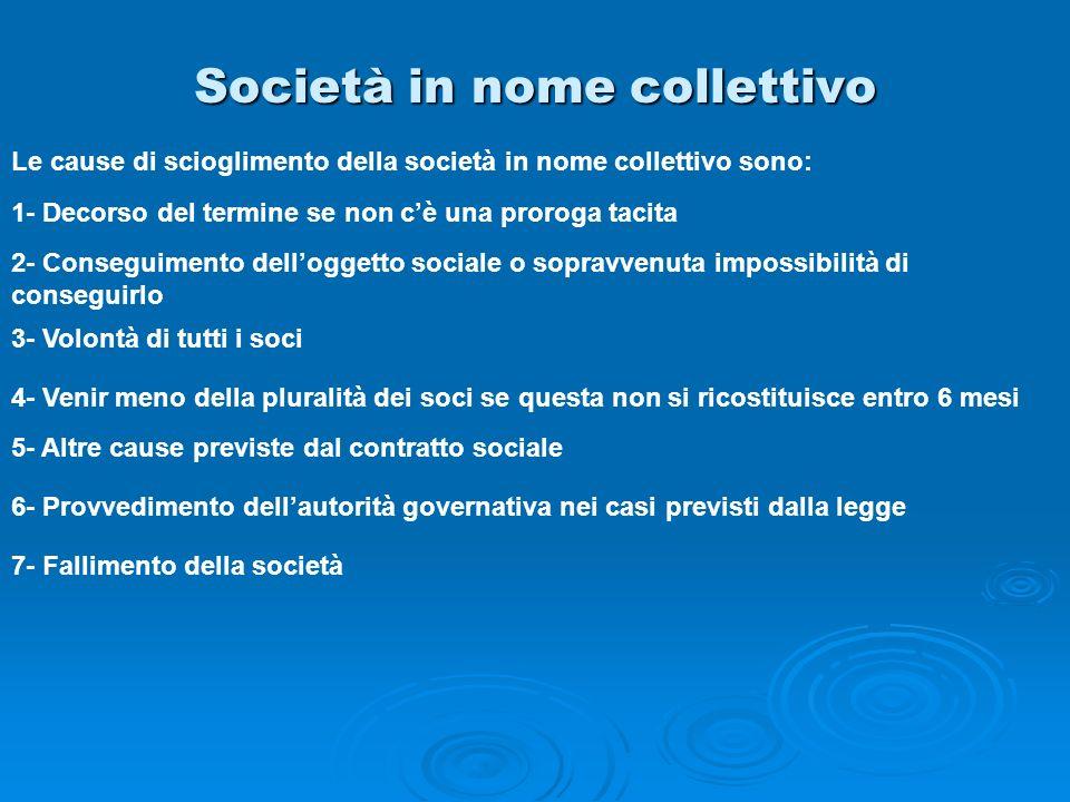 Società in nome collettivo Le cause di scioglimento della società in nome collettivo sono: 1- Decorso del termine se non cè una proroga tacita 2- Cons