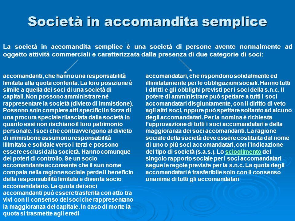 Società in accomandita semplice La società in accomandita semplice è una società di persone avente normalmente ad oggetto attività commerciali e carat