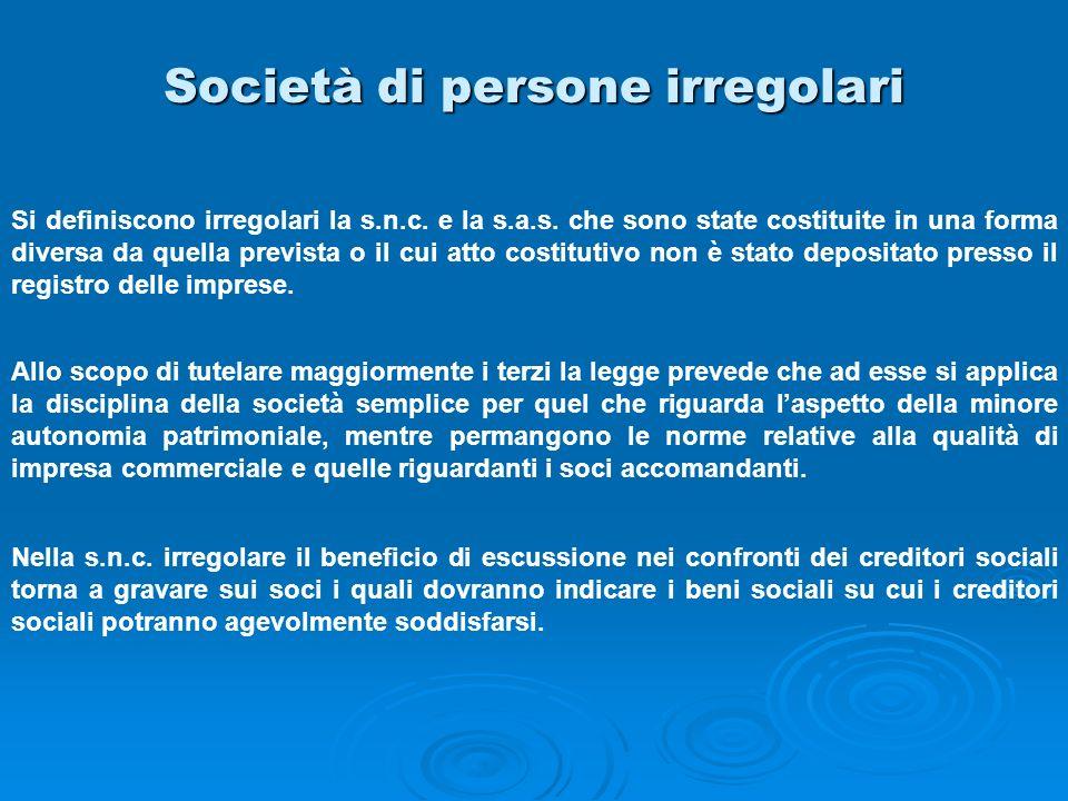 Società di persone irregolari Si definiscono irregolari la s.n.c. e la s.a.s. che sono state costituite in una forma diversa da quella prevista o il c
