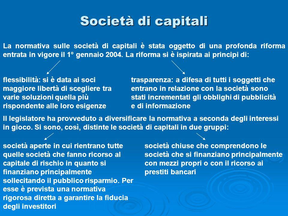 Società di capitali La normativa sulle società di capitali è stata oggetto di una profonda riforma entrata in vigore il 1° gennaio 2004. La riforma si