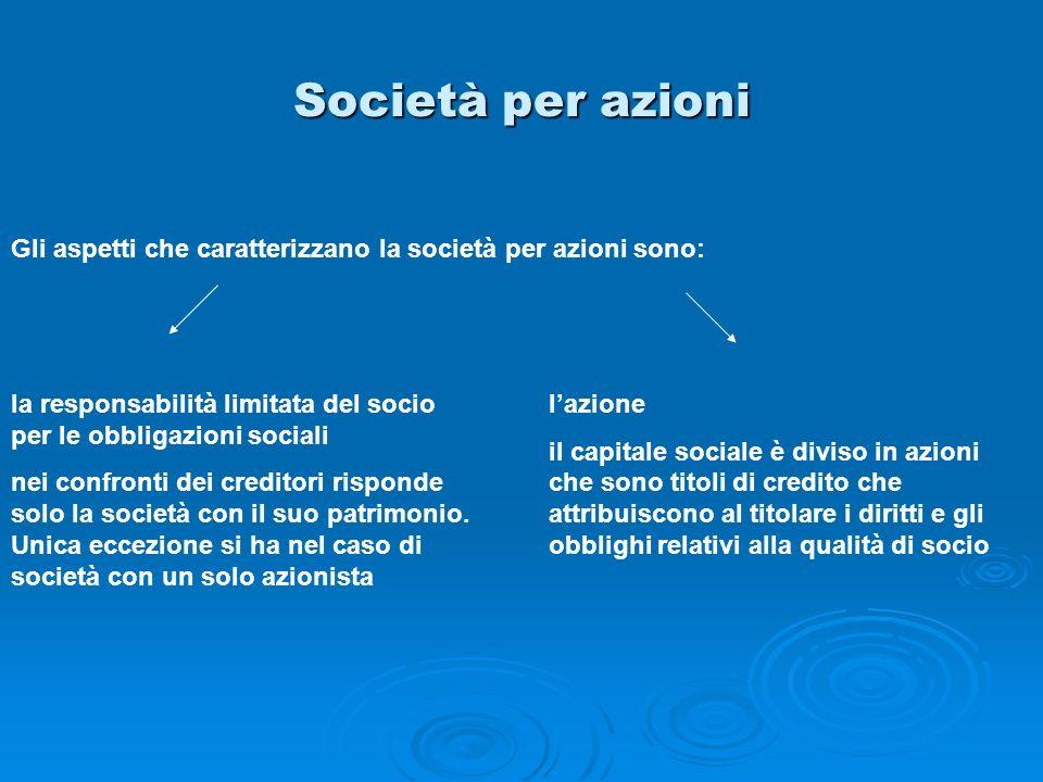 Società per azioni Gli aspetti che caratterizzano la società per azioni sono: la responsabilità limitata del socio per le obbligazioni sociali nei con