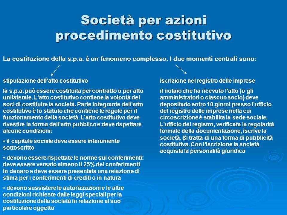 Società per azioni procedimento costitutivo La costituzione della s.p.a. è un fenomeno complesso. I due momenti centrali sono: stipulazione dellatto c