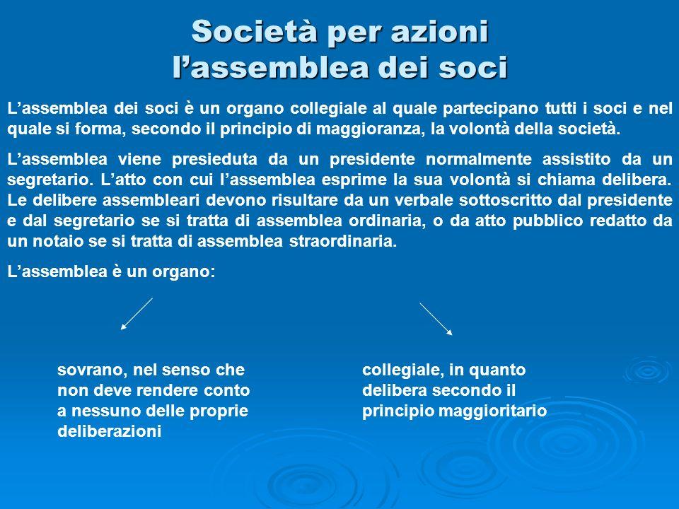 Società per azioni lassemblea dei soci Lassemblea dei soci è un organo collegiale al quale partecipano tutti i soci e nel quale si forma, secondo il p