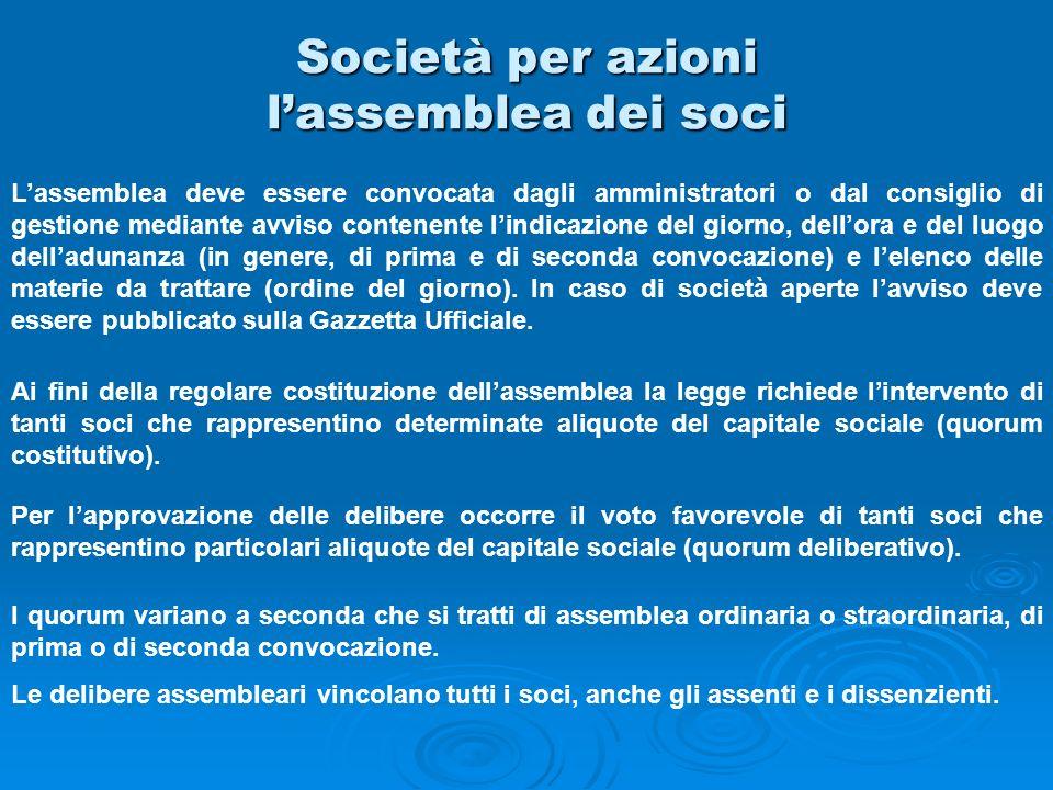 Società per azioni lassemblea dei soci Lassemblea deve essere convocata dagli amministratori o dal consiglio di gestione mediante avviso contenente li