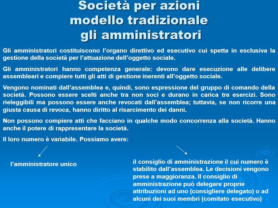 Società per azioni modello tradizionale gli amministratori Gli amministratori costituiscono lorgano direttivo ed esecutivo cui spetta in esclusiva la