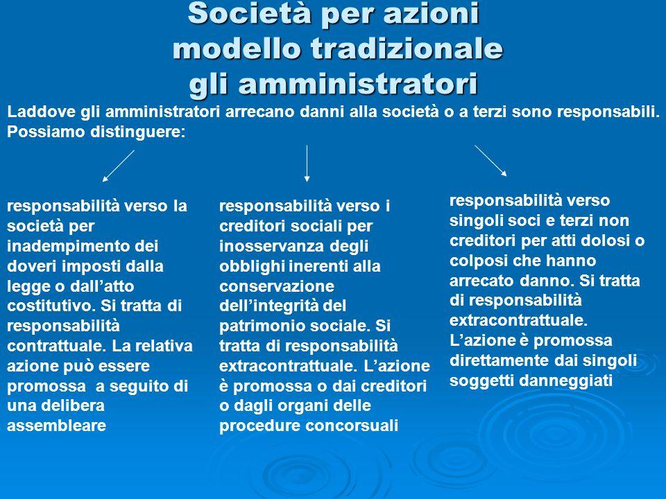 Società per azioni modello tradizionale gli amministratori Laddove gli amministratori arrecano danni alla società o a terzi sono responsabili. Possiam