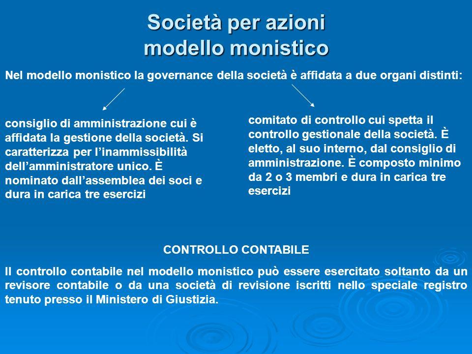 Società per azioni modello monistico Nel modello monistico la governance della società è affidata a due organi distinti: consiglio di amministrazione