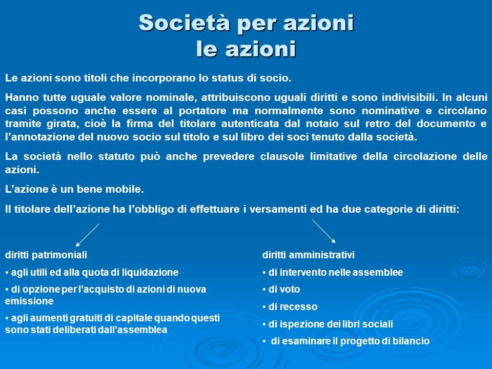 Società per azioni le azioni Le azioni sono titoli che incorporano lo status di socio. Hanno tutte uguale valore nominale, attribuiscono uguali diritt