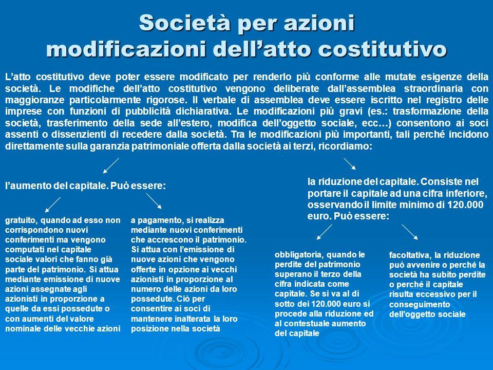 Società per azioni modificazioni dellatto costitutivo Latto costitutivo deve poter essere modificato per renderlo più conforme alle mutate esigenze de