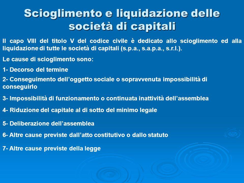 Scioglimento e liquidazione delle società di capitali Il capo VIII del titolo V del codice civile è dedicato allo scioglimento ed alla liquidazione di