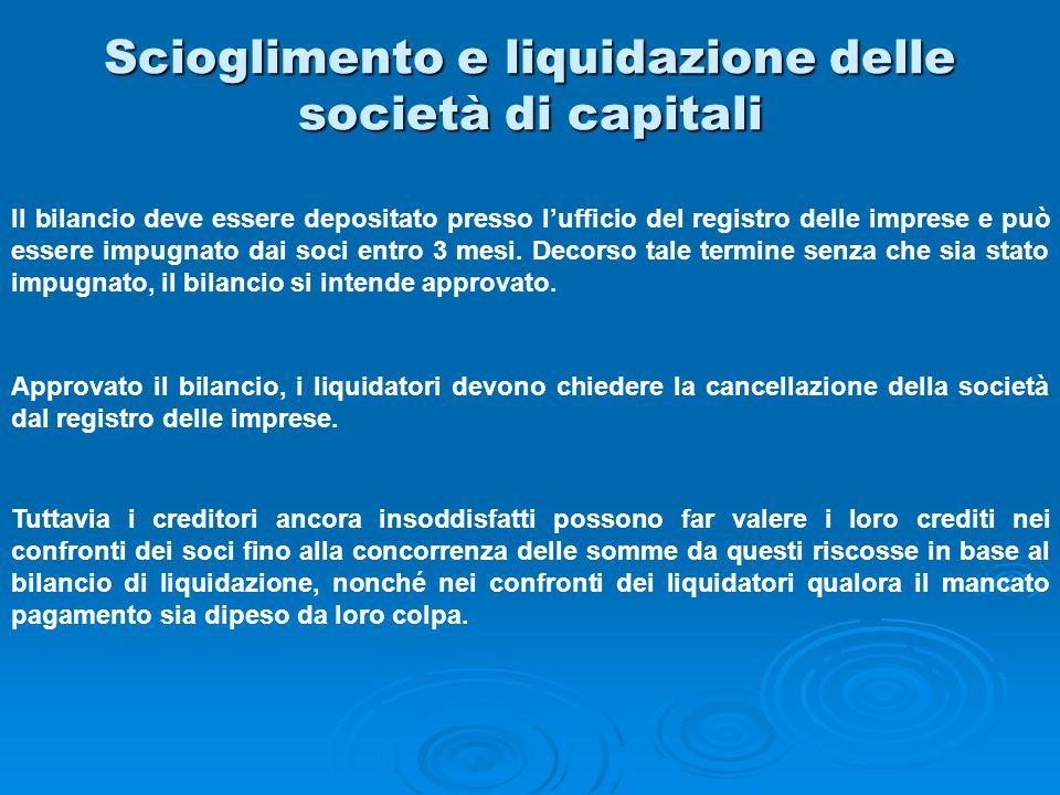Scioglimento e liquidazione delle società di capitali Il bilancio deve essere depositato presso lufficio del registro delle imprese e può essere impug