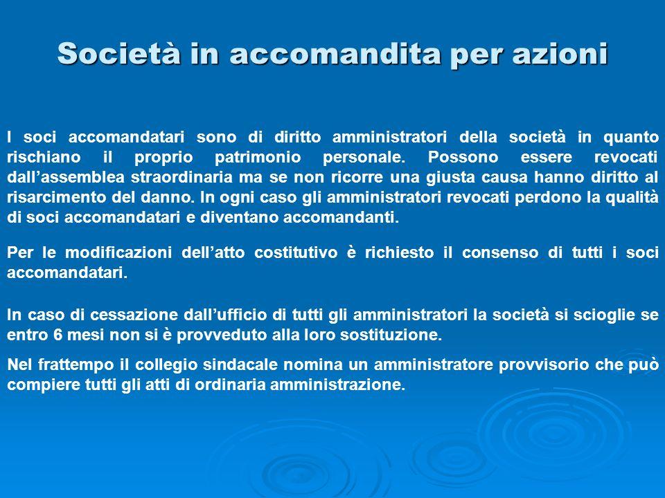 Società in accomandita per azioni I soci accomandatari sono di diritto amministratori della società in quanto rischiano il proprio patrimonio personal