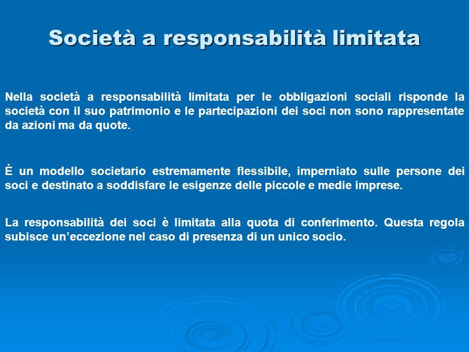 Società a responsabilità limitata Nella società a responsabilità limitata per le obbligazioni sociali risponde la società con il suo patrimonio e le p