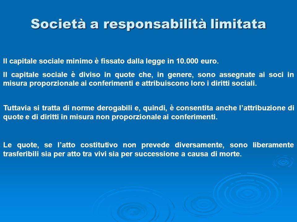 Società a responsabilità limitata Il capitale sociale minimo è fissato dalla legge in 10.000 euro. Il capitale sociale è diviso in quote che, in gener