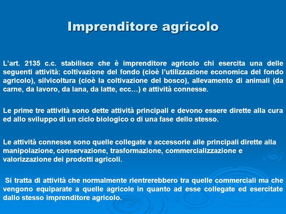 Imprenditore agricolo Lart. 2135 c.c. stabilisce che è imprenditore agricolo chi esercita una delle seguenti attività: coltivazione del fondo (cioè lu