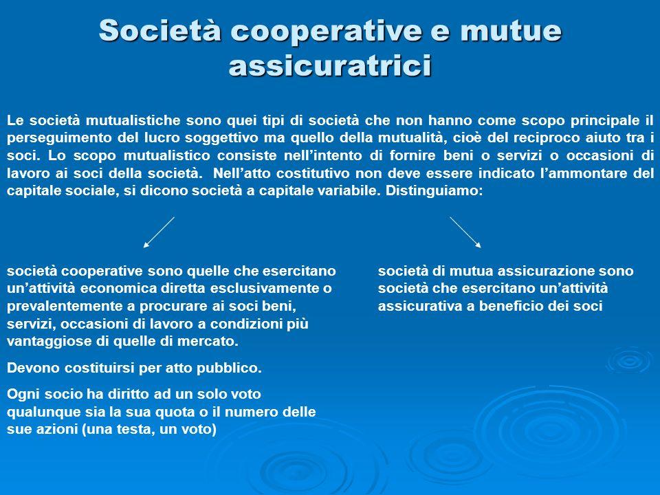 Società cooperative e mutue assicuratrici Le società mutualistiche sono quei tipi di società che non hanno come scopo principale il perseguimento del