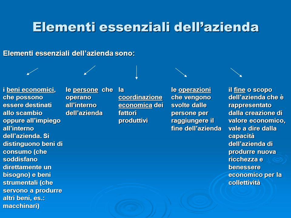 Elementi essenziali dellazienda Elementi essenziali dellazienda sono: i beni economici, che possono essere destinati allo scambio oppure allimpiego al
