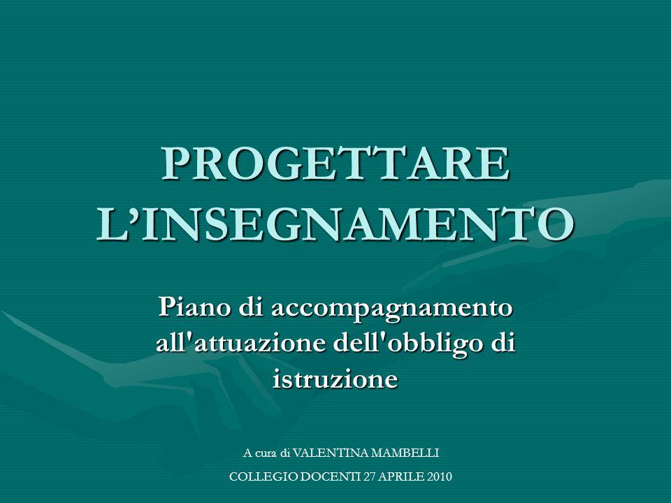 PROGETTARE LINSEGNAMENTO Piano di accompagnamento all attuazione dell obbligo di istruzione A cura di VALENTINA MAMBELLI COLLEGIO DOCENTI 27 APRILE 2010