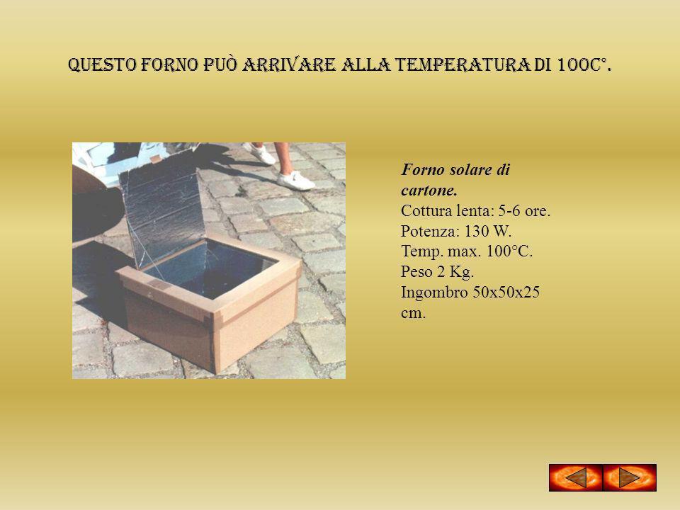 Questo forno può arrivare alla temperatura di 100c°. Forno solare di cartone. Cottura lenta: 5-6 ore. Potenza: 130 W. Temp. max. 100°C. Peso 2 Kg. Ing