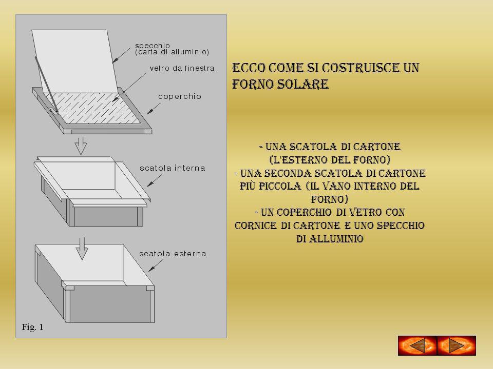 ECCO COME SI COSTRUISCE UN FORNO SOLARE - una scatola di cartone (l'esterno del forno) - una seconda scatola di cartone più piccola (il vano interno d