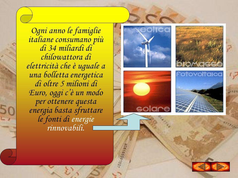 Ogni anno le famiglie italiane consumano più di 34 miliardi di chilowattora di elettricità che è uguale a una bolletta energetica di oltre 5 milioni d