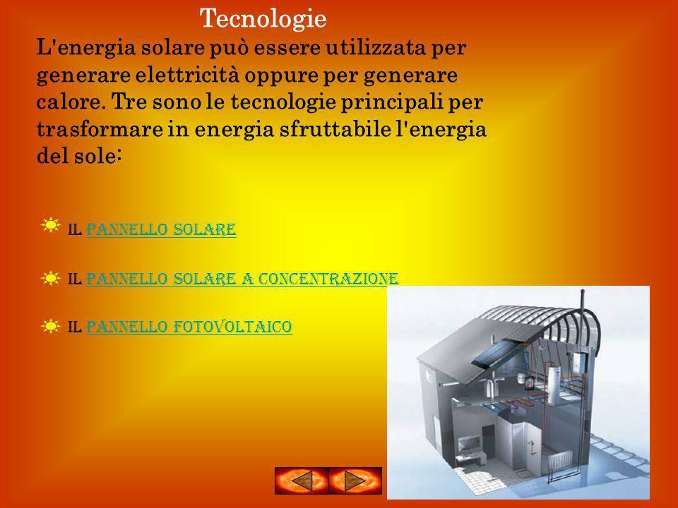 Tecnologie L'energia solare può essere utilizzata per generare elettricità oppure per generare calore. Tre sono le tecnologie principali per trasforma