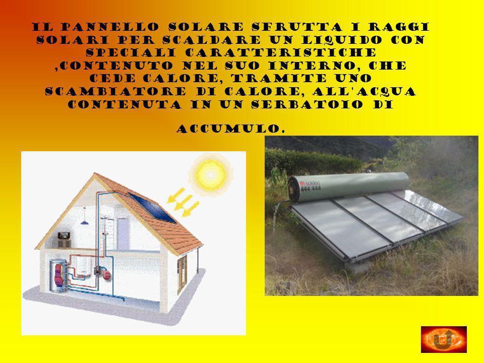 il pannello solare sfrutta i raggi solari per scaldare un liquido con speciali caratteristiche,contenuto nel suo interno, che cede calore, tramite uno