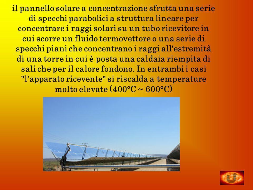 il pannello solare a concentrazione sfrutta una serie di specchi parabolici a struttura lineare per concentrare i raggi solari su un tubo ricevitore i